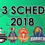 Pakistan Super League 2018 Schedule & Time Table (Confirmed)