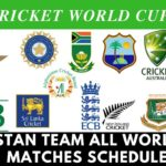 Pakistan Team Schedule In World Cup 2019 (All Matches)