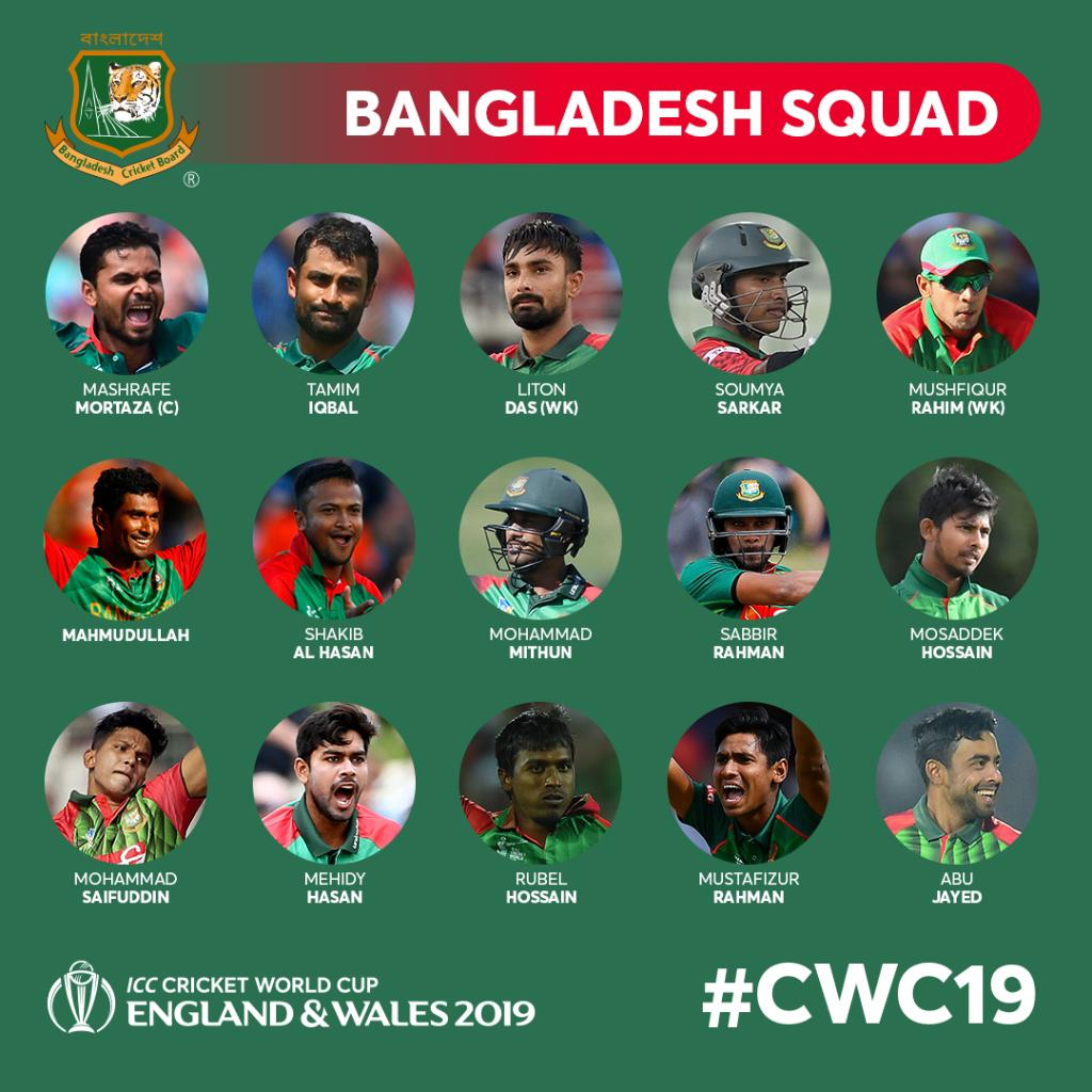 Bangladesh Official Team Squad For Cricket World Cup 2019